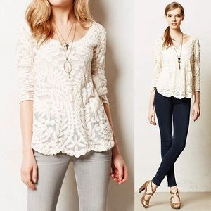 Anthropologie Meadow Rue Embroidered Mesh Blouse